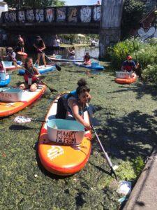 Planet Patrol paddle boarding clean up Hackney London